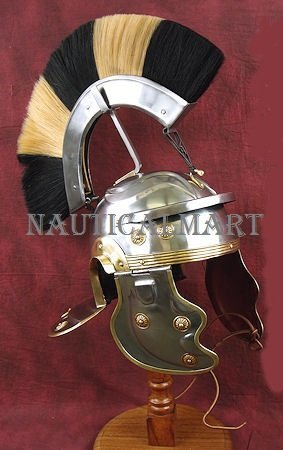 Roman Gallic Helmet with Black and White Plume