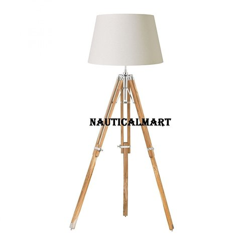 Designer Tripod Floor Lamp Stand Natural Finish With White Shade