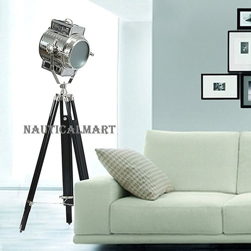 Nautical Contemporary Floor Lamp Nautical Searchlight On Tripod Stand For Drawing Room