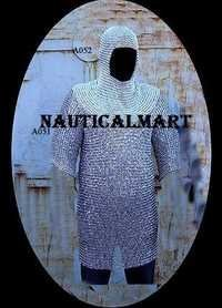 Chain Mail Hauberk Shirt With Head Coif Knight Armor