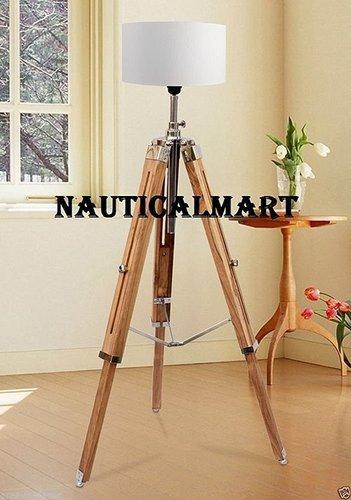 Royal Modern Teak Wood Floor Lamp Nautical Tripod Stand