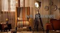 Antique Brass Finish Wooden Tripod Floor Lamp For Living Room