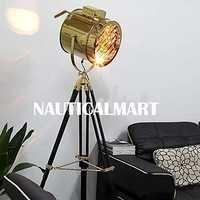Nautical Designer Gold Finish Wooden Tripod Floor Lamp For Living Room