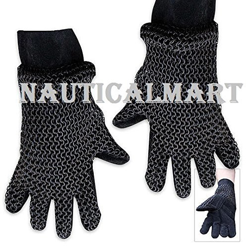 Medieval Steel Chainmail Armor Gloves w/ Padding