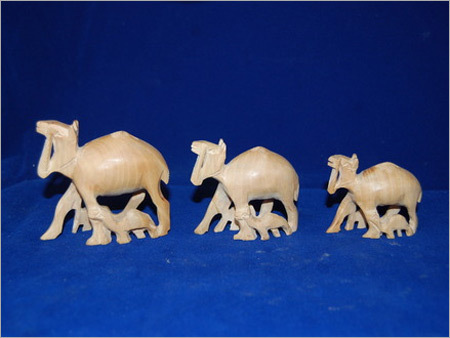 Wooden Camel Family Statue