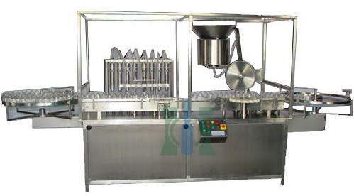 Sterile Liquid Vial Filling And Rubber Stoppering Machine