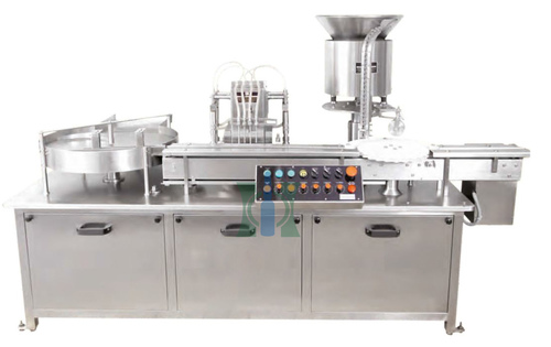 Four Needle Vial Filling With Stoppering Machine