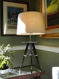 Marine Antique Chrome Finish Tripod Table Lamp
