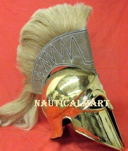 Italo Corinthian Greek Brass Helmet With Plume
