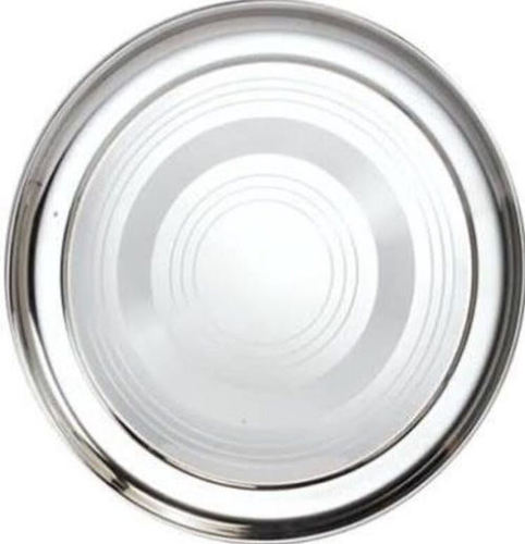 SS Round Tray With Silver Touch