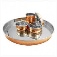 SS Copper Thali Set
