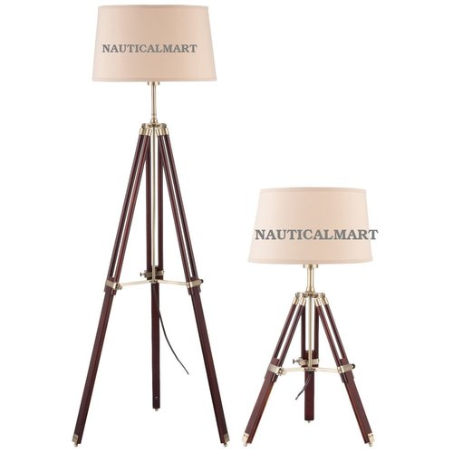 Tripod Adjustable Floor Lamp and Table Lamp with Wooden Stand(Lamp Set)