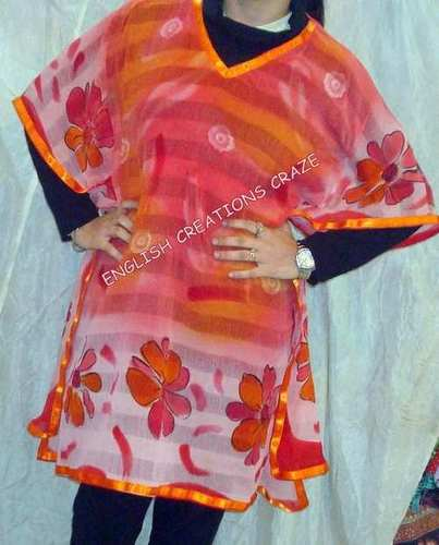 Polyester Printed Kaftans With Embroidery Work