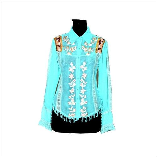 Tuxedo Shirt turq ecru