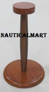 Nautical Solid Wooden Display Stand In Brown For Medieval Helmet