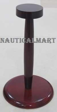 Medieval Helmet Collectible Wooden Display Stand In Cherry Finish