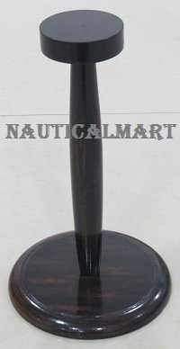 Medieval Helmet Wooden Stand In Black