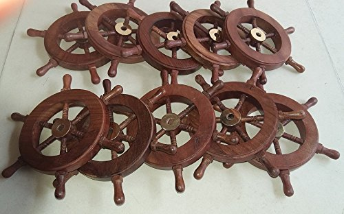 Nautical Pirate Wooden Ship Wheel Set of 10