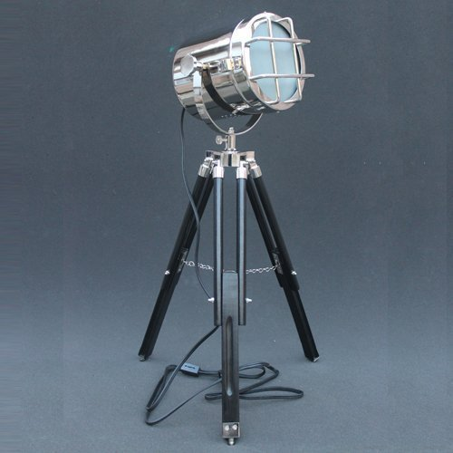 Modern Retro Focus Floor Lamp Searchlight Decor Tripod Chrome Finish And Black Tripod