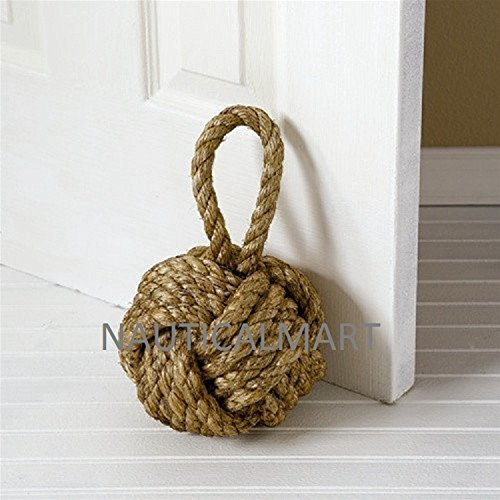 Decorative Knot Jute Rope Door Stopper Or Bookend Design