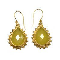 Jade Yellow Pear 925 Sterling Sliver Earring