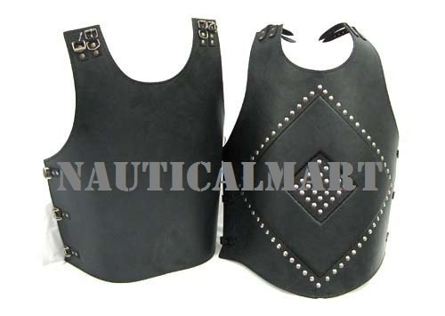 Black Leather Gladiator Warrior Breastplate