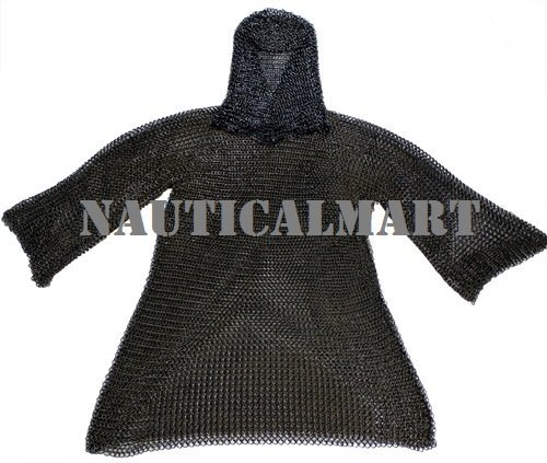 Black Medieval Chainmail with Coif
