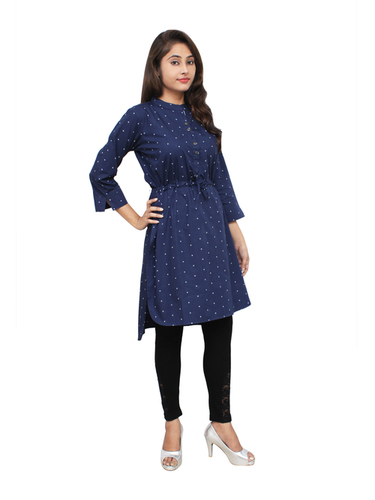 Blue Cotton Kurtis Denim Touch