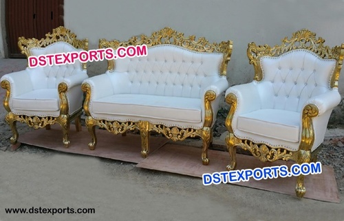 Gold Royal Luxury Wedding Carved Sofa Sets
