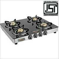 Four  Burner Glass Top Black