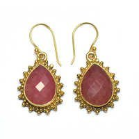 Jade Red Pear 925 Sterling Sliver Earring