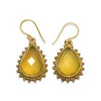 Yellow Chalcedony Pear 925 Sterling Sliver Earring