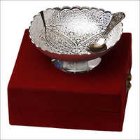 Silver Plated Brass Bowl With Spoon