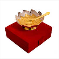 Diwali Gift Silver Gold Plated Brass Bowl