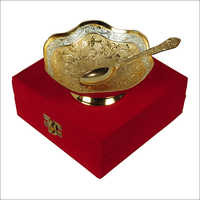 Silver Gold Plated Brass Serving Bowl