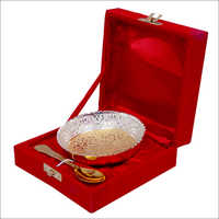 Gold Plated Brass Bowl With Spoon