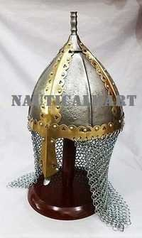 Medieval Norman Viking Gjermundbu Armor Helmet With Chainmail