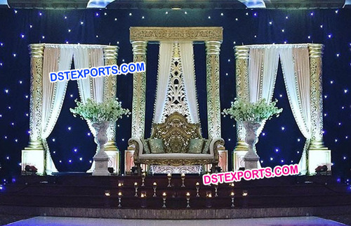 Gold Pillar Pakistani Wedding Stage