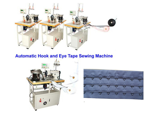 Middle speed automatic hook and eye tape sewing machine