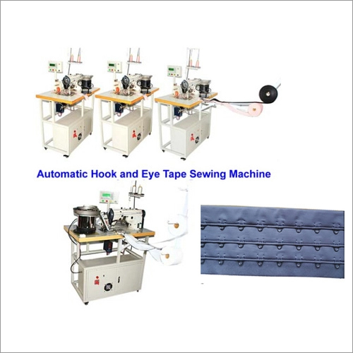 High speed bra hook and eye tape sewing machine