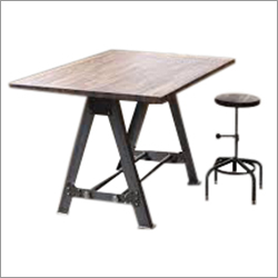 Industrial Wooden Top Black Iron Base Desk & Stool