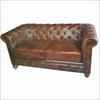 Vintage Leather Chesterfield Love  Sofa