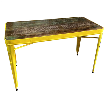 Reclaimed Wood Top & Yellow Iron Legs Industrial Dining Table