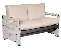 Off White Metal Industrial Sofa