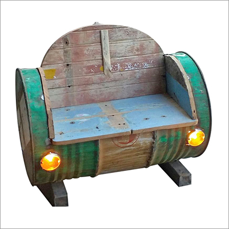 Metal & Wood Oil Drum Industrial Sofa