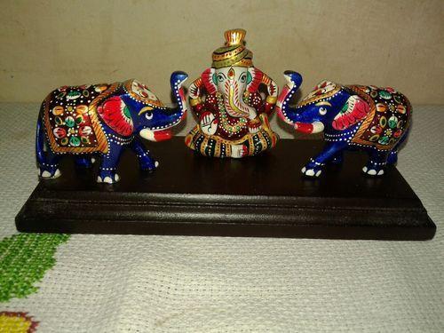 Metal Elephant Statue With Ganesha