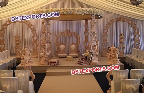 Antique Carved Wooden Wedding Mandap