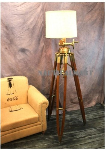 Designer Huge Commercial Tripod Floor Lamp Antique Brass Wood