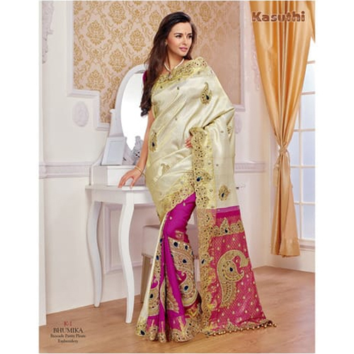Brocade Embroidered Silk Saree