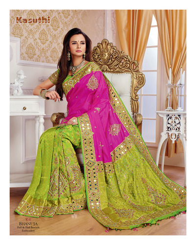 Mirror Work Silk Saree